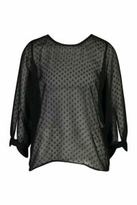 Womens Dobby Mesh Bow Sleeve Blouse - black - 12, Black