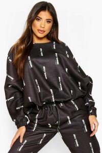 Womens Woman Oversized Sweatshirt - black - 14, Black