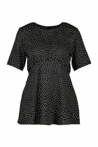Womens Spot Kimono Sleeve Smock Top - black - 8, Black