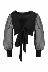 Womens Tie Front Organza Sleeve Cropped Blouse - black - L, Black