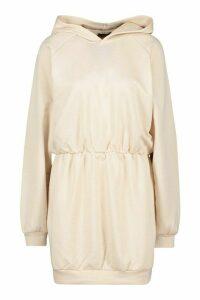 Womens Slouchy Oversized Hooded Sweat Dress - Beige - 16, Beige