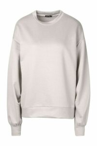 Womens Balloon Sleeve Oversized Sweat Top - grey - 16, Grey