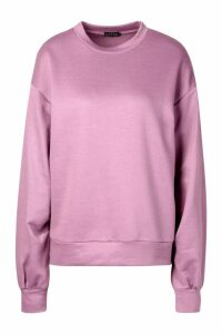 Womens Balloon Sleeve Oversized Sweat Top - Purple - 14, Purple