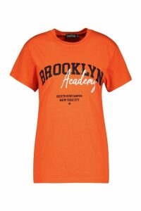 Womens Brooklyn Slogan Oversized T-Shirt - orange - 12, Orange