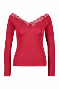 Womens Lace V-Neck Bardot Long Sleeve Top - red - 14, Red