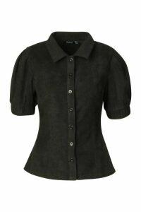 Womens Woven Button Through Puff Sleeve Top - black - 10, Black