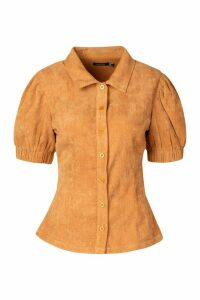 Womens Woven Button Through Puff Sleeve Top - beige - 14, Beige