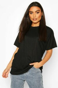 Womens Ribbed Oversized T-Shirt - Black - 14, Black