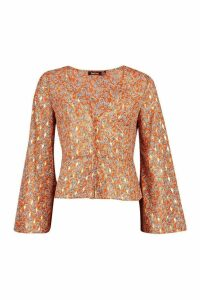 Womens Metallic Paisley Button Through Blouse - orange - 12, Orange