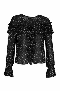 Womens Ditsy Floral Print Ruffle Blouse - black - 14, Black