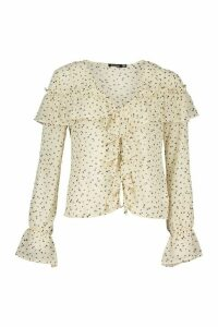 Womens Ditsy Floral Print Ruffle Blouse - white - 14, White