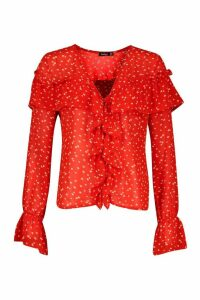Womens Ditsy Floral Print Ruffle Blouse - Red - 12, Red