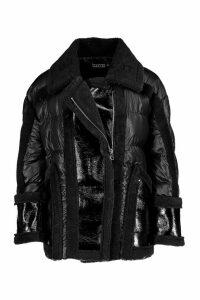 Womens Teddy Fur Puffer Aviator Jacket - black - M/L, Black