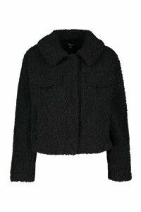 Womens Bonded Teddy Faux Fur Jacket - Black - 12, Black