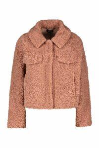 Womens Bonded Teddy Faux Fur Jacket - Pink - 14, Pink