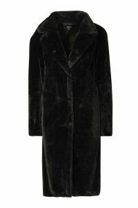 Womens Faux Fur Maxi Coat - black - 12, Black