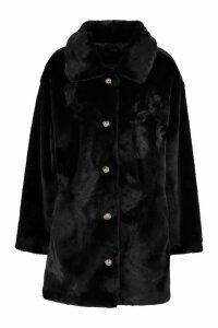 Womens Oversized Collared Faux Fur Coat - black - 16, Black