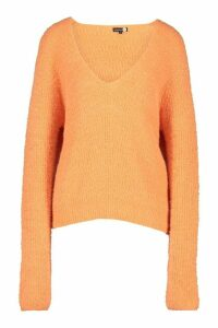 Womens Tall Fluffy Knit V Neck Jumper - orange - L, Orange