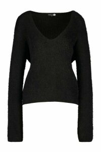 Womens Tall Fluffy Knit V Neck Jumper - Black - M, Black