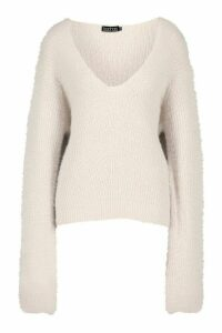 Womens Tall Fluffy Knit V Neck Jumper - grey - M, Grey