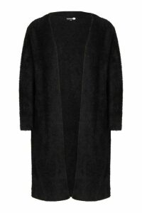 Womens Tall Fluffy Oversized Cardigan - black - S, Black
