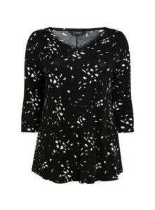 Black Abstract Polka Dot Print Top, Black