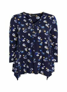 Navy Daisy Print Pintuck Top, Navy
