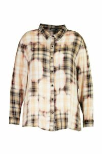 Womens Plus Oversized Bleached Check Shirt - beige - 20, Beige