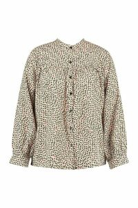 Womens Plus Smudge Print Collarless Shirt - beige - 20, Beige