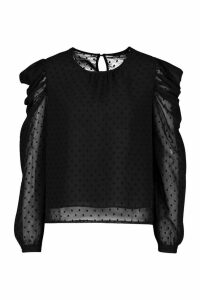 Womens Petite Dobby Mesh Volume Sleeve Top - black - 14, Black