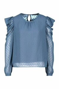 Womens Petite Dobby Mesh Volume Sleeve Top - blue - 14, Blue