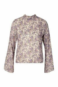 Womens Petite Floral High Neck Blouse - White - 4, White
