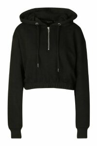 Womens Basic Soft Mix & Match Crop Zip Hoodie - black - 14, Black