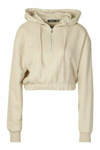 Womens Basic Soft Mix & Match Crop Zip Hoodie - beige - 14, Beige