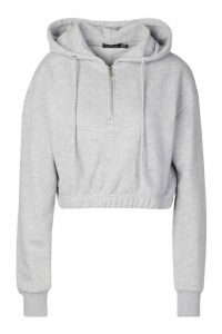 Womens Basic Soft Mix & Match Crop Zip Hoodie - grey - 14, Grey