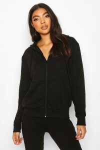Womens Basic Soft Mix & Match Zip Through Hoodie - Black - 14, Black