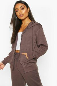 Womens Basic Soft Mix & Match Zip Through Hoodie - grey - 14, Grey