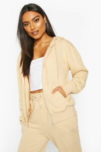 Womens Basic Soft Mix & Match Zip Through Hoodie - beige - 14, Beige