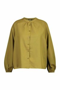 Womens Plus Cotton Feel Collarless Shirt - Green - 16, Green