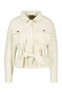 Womens Petite Utility Belted Shirt Jacket - cream - 12, Cream