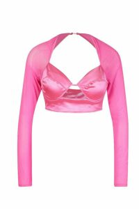Womens Stretched Satin Mesh Sleeve Cup Detail Top - Pink - 14, Pink