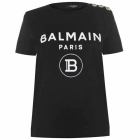 Balmain Balmain Logo Button T Shirt