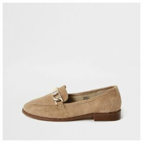 River Island Womens Cream suedette studded loafers