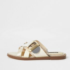 River Island Womens Cream buckle studded strap sandals
