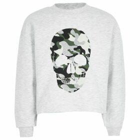 River Island Grey camo skull printed sweatshirt