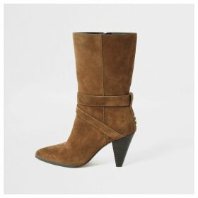 River Island Womens Brown suede strap heeled boots