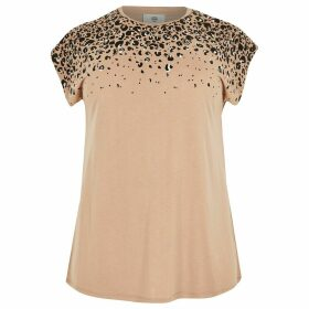 River Island Womens Plus Beige grown on sleeve T-shirt