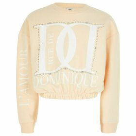 River Island Cream 'Dominique' diamante sweatshirt