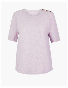 M&S Collection Pure Linen Button Detailed Blouse