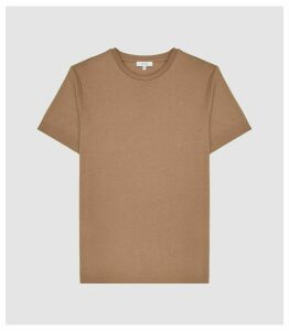 Reiss Iona - Self-start Rib-knit T-shirt in Camel, Mens, Size XXL